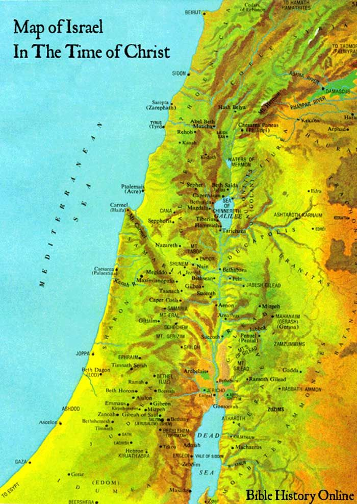 Map Of Holy Land In Jesus Time on