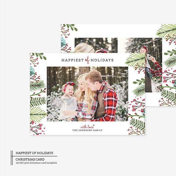 Two Sided Watercolor Christmas Card Photoshop Template The  Fee Covers The Photoshop Files If You Need Printable Files Please Add This Extra Listing To