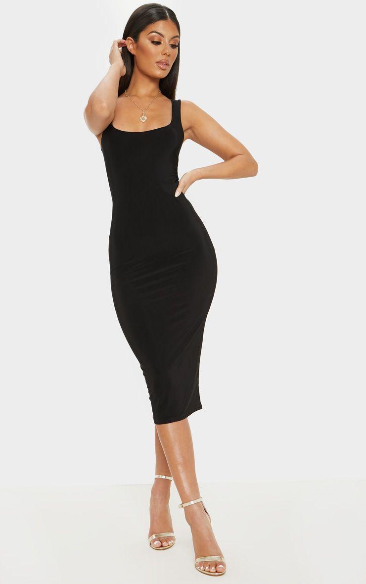 Black Slinky Strappy Midi Dress Simple Black Midi Dress Midi Dress Bodycon Cheap Midi Dress [ 1180 x 740 Pixel ]