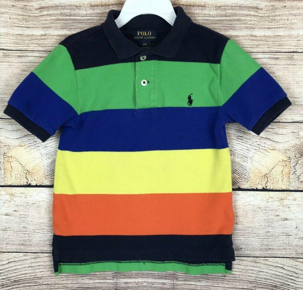 e71b359b5 Polo Ralph Lauren Polo Shirt Boys Size 4/4T - Blue Green Yellow Orange  Stripes | eBay