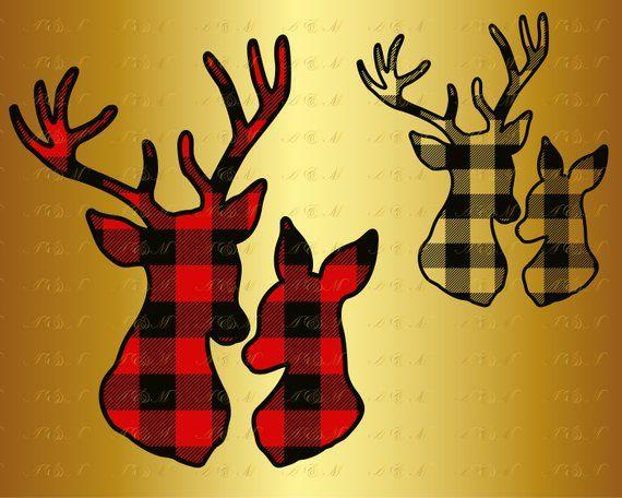 Deer head plaid. Buffalo svg family antlers