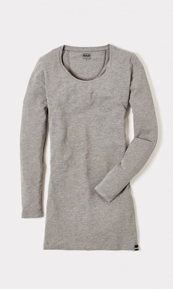 Women's Bamboo Long Top *200gsm - Mid Grey Marl* : Bamboo Clothing. £21 plus delivery