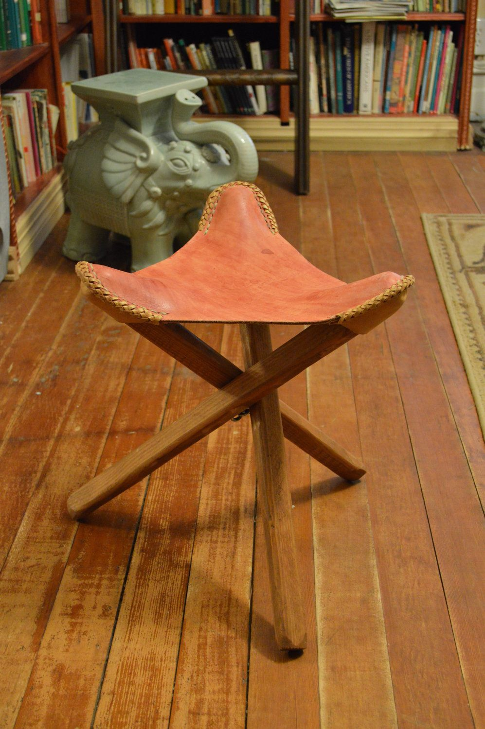 Antique Bed Stool: Vintage Mexican Three-Legged Leather Hunting Stools. $40