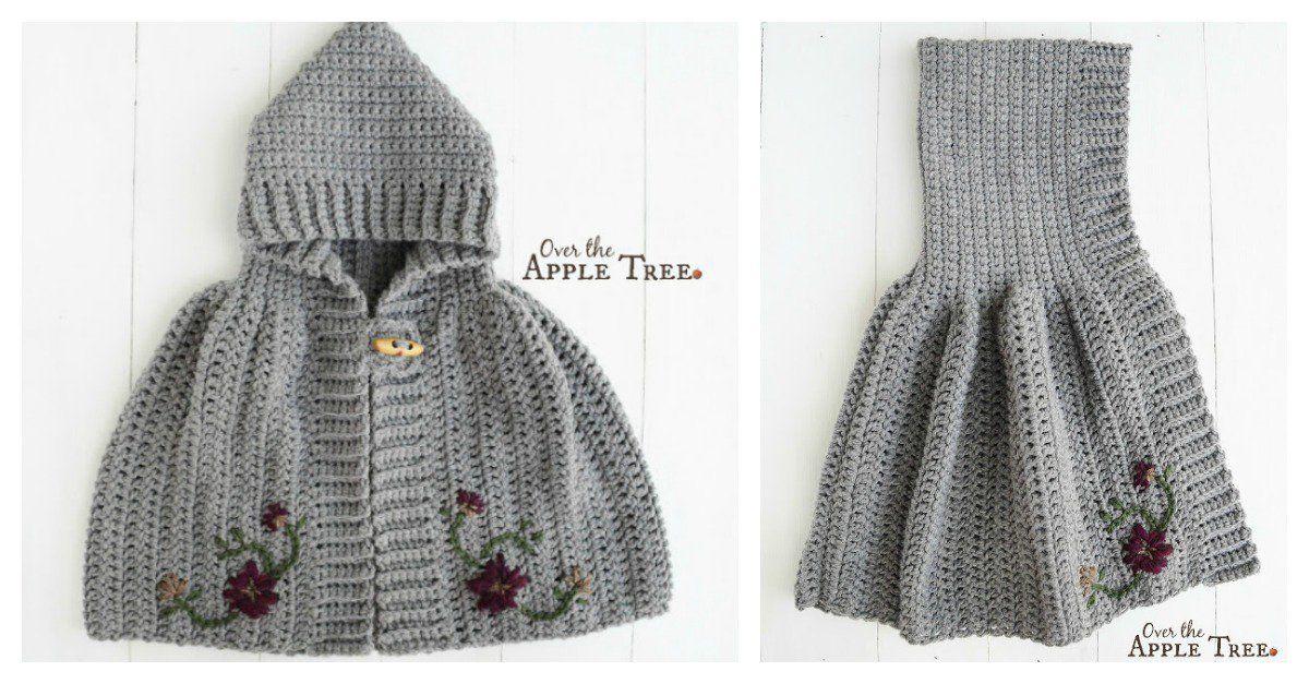Hooded Cape Free Crochet Pattern for Girl | Crochet Clothing ...