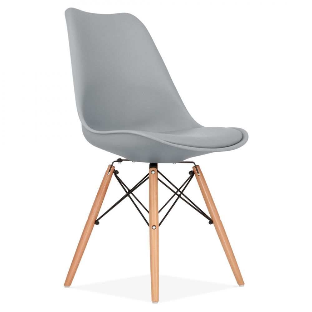 Cool Grey Soft Pad Dining Chair With DSW Style Natural Wood Legs | Cult UK