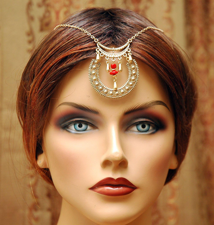 Gold Hair Chain Accessory Tikka Headpiece Bridal Hair Chain