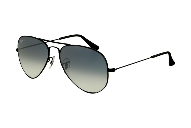 800562d65de Ray Ban Aviator RB3025 Sunglasses Black Frame Polarized Blue Gradient Gray  Lens