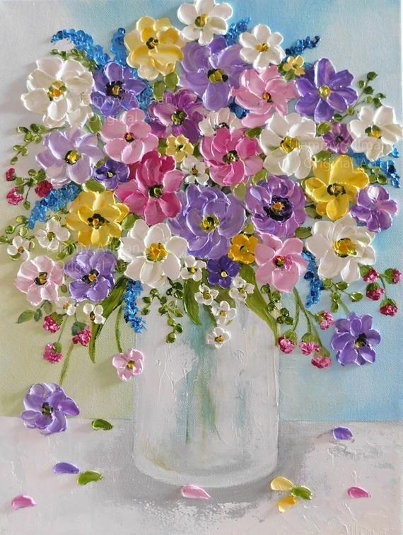 Impressionistisches Ölmalerei-Malen von Wildblumen in einer Vase. Toller persönli ...  #einer #impressionistisches #malen #olmalerei #paintingartideas #personli #toller #wildblumen #craftsaleitems