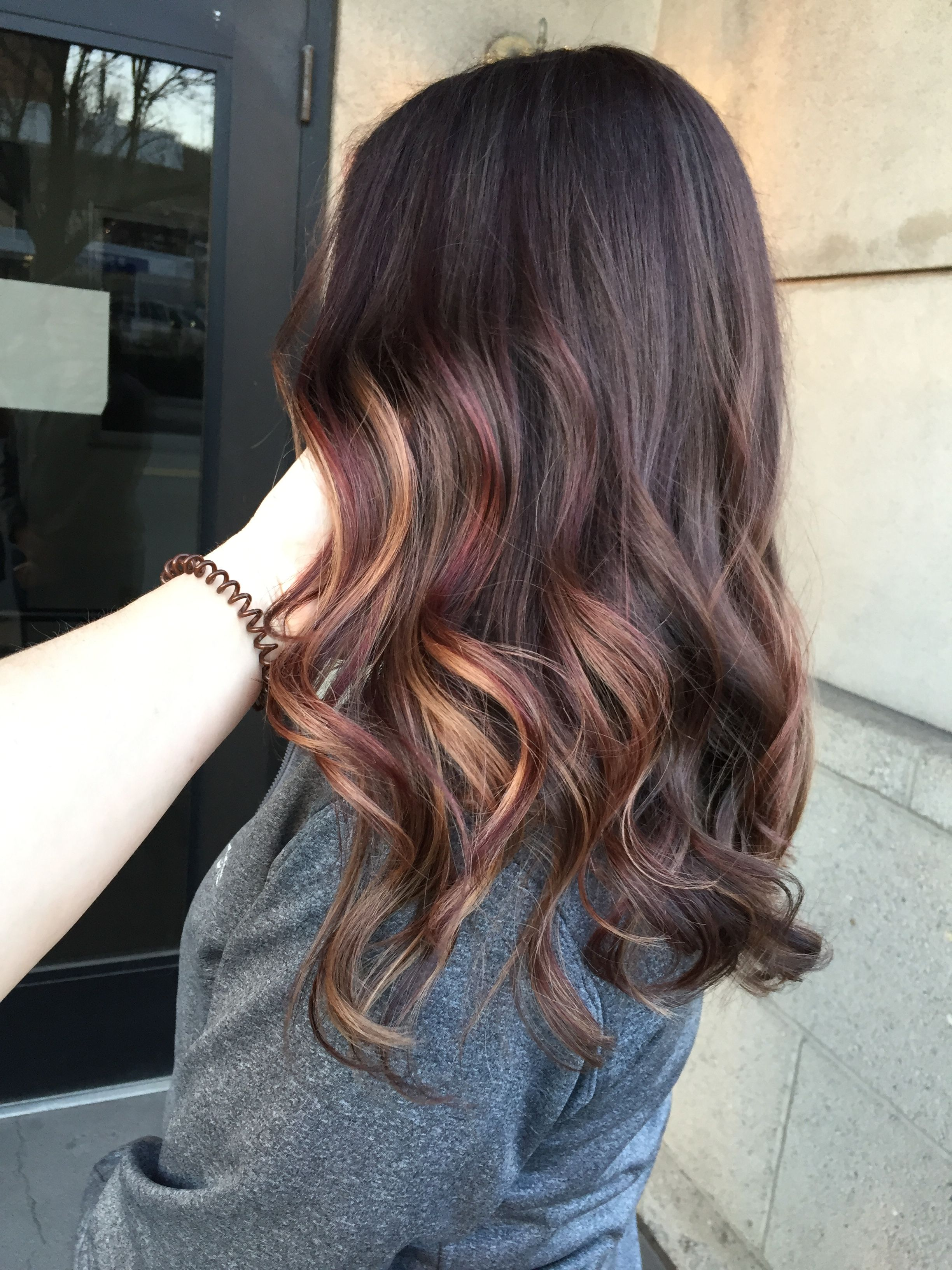 Burgundy Red And Caramel Blonde Balayage On Brunette By