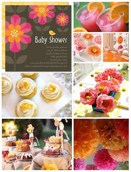 I Love The Pink And Orange For Baby Girl Shower Httppinterest