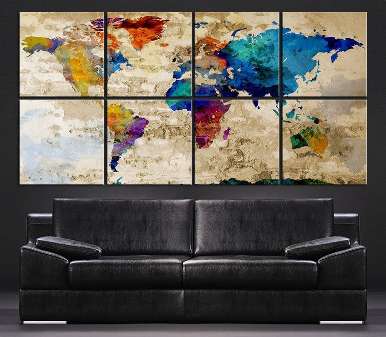 Large wall art canvas print colorful world map on rustic wall 8 large wall art canvas print colorful world map on rustic wall 8 panel vintage world gumiabroncs Gallery