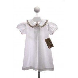 HANNAH KATE WHITE PIQUE APRON DRESS WITH KHAKI GINGHAM RUFFLE TRIMMED COLLAR