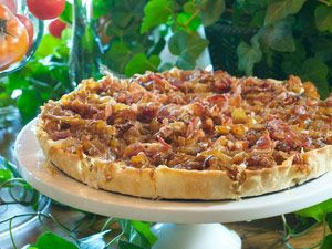 Crisp bacon and caramelized onions make perfect partners in this cravable, savory tart.