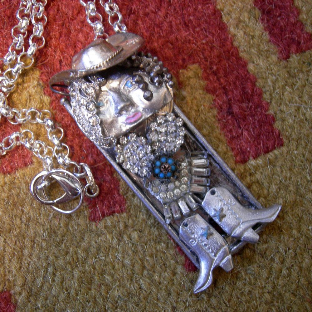 Glitzy Gertie Goes Galavanting - Rhinestone Cowgirl Art Doll Assemblage Necklace by Vintagearts on Etsy