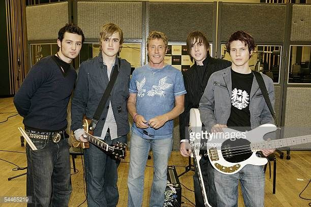 Roger Daltrey and Harry Judd Tom Fletcher Dan Jones and Dougie Poynter of McFly record The Who's 'My Generation' for the launch of high street music...