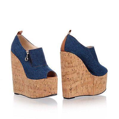 New Fashion Womens High Wedge heel Platform Open Toe Creeper Denim Sandals  Shoes 1e3e4e3b1fa