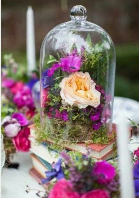 Flowers under glass dome pinterest