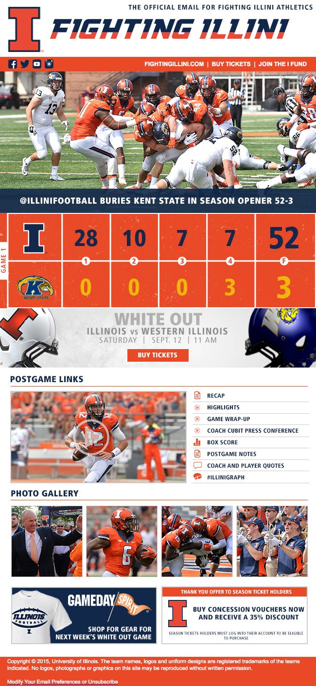 Illinois football postgame email with score, postgame