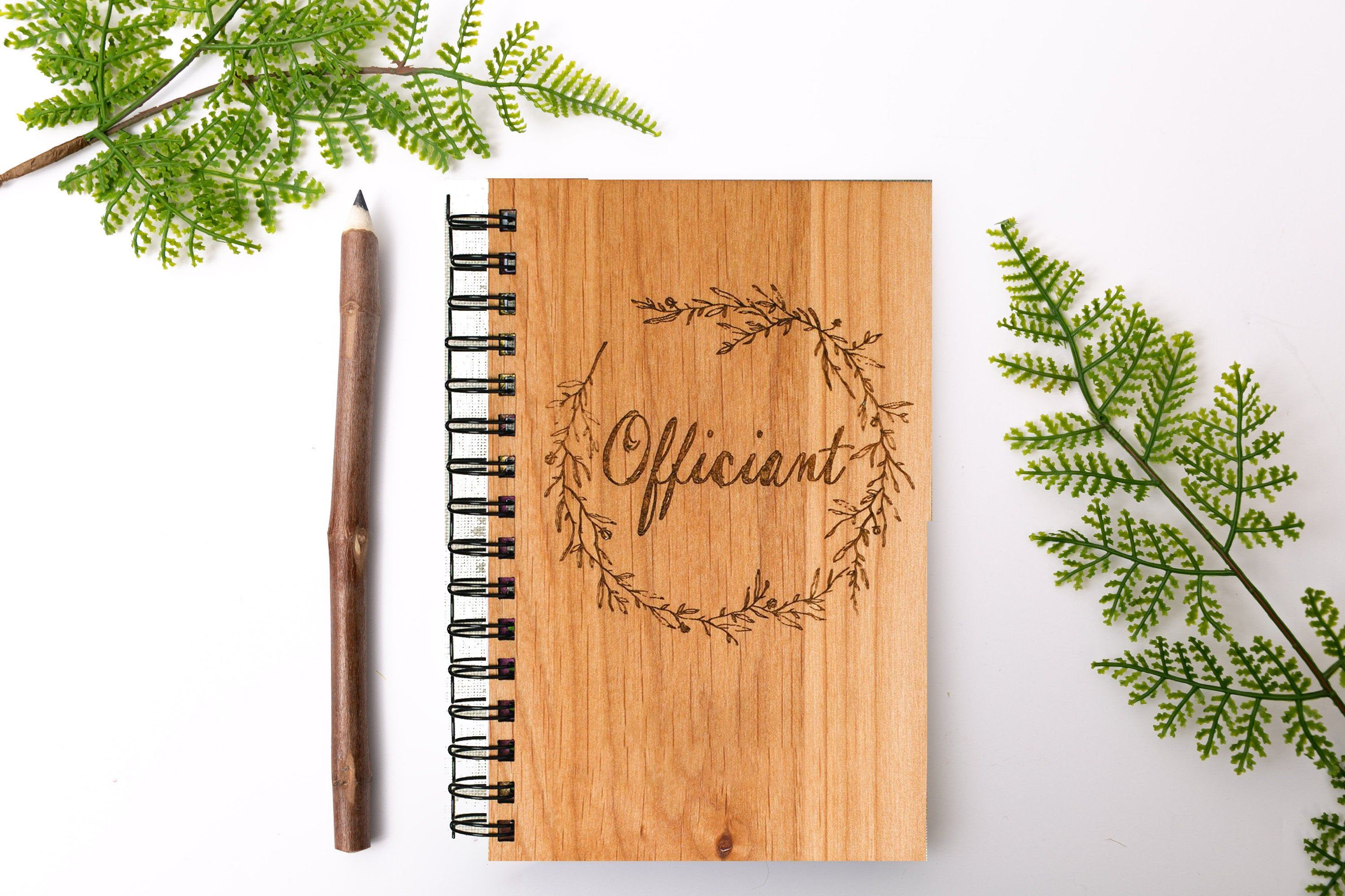 Officiant Wedding Vows Personalized Wood Journal Bamboo