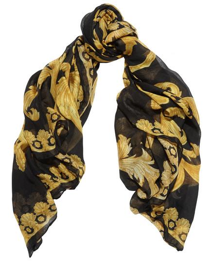 e7ef82f9aff6 Foulard noir en modal et cachemire mélangés imprimé jaune Versace ...
