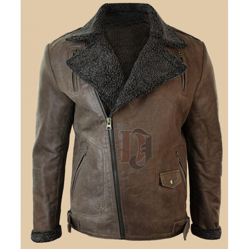 Men Tan Brown Vintage Leather Jacket Distressed Brown