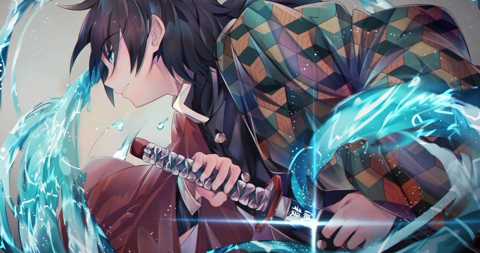 Download 1920x1012 Tomioka Giyuu Kimetsu No Yaiba Sword Profile View Wallpapers Wallpapermaiden Anime Images Anime Anime Demon