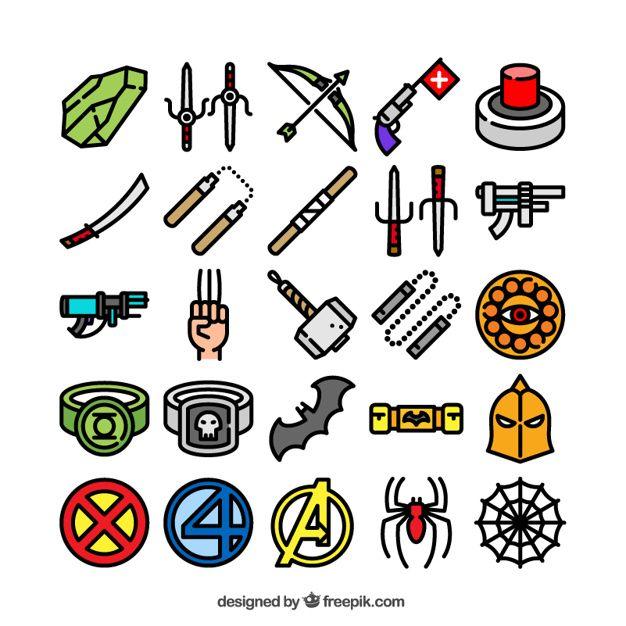 Coleção de ícones de super-heróis Vetor grátis
