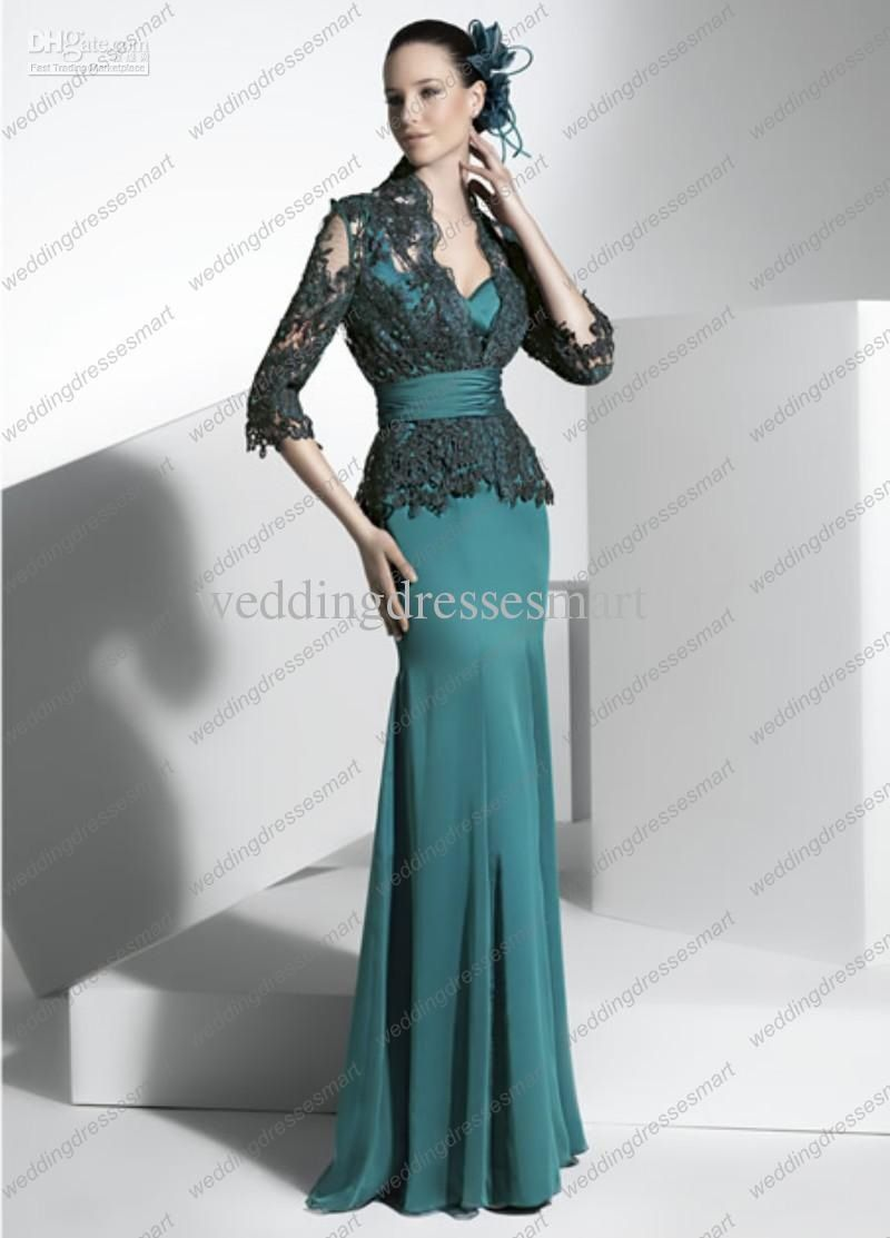 Teal wedding dress with lace jacket | anny | Pinterest | Teal ...