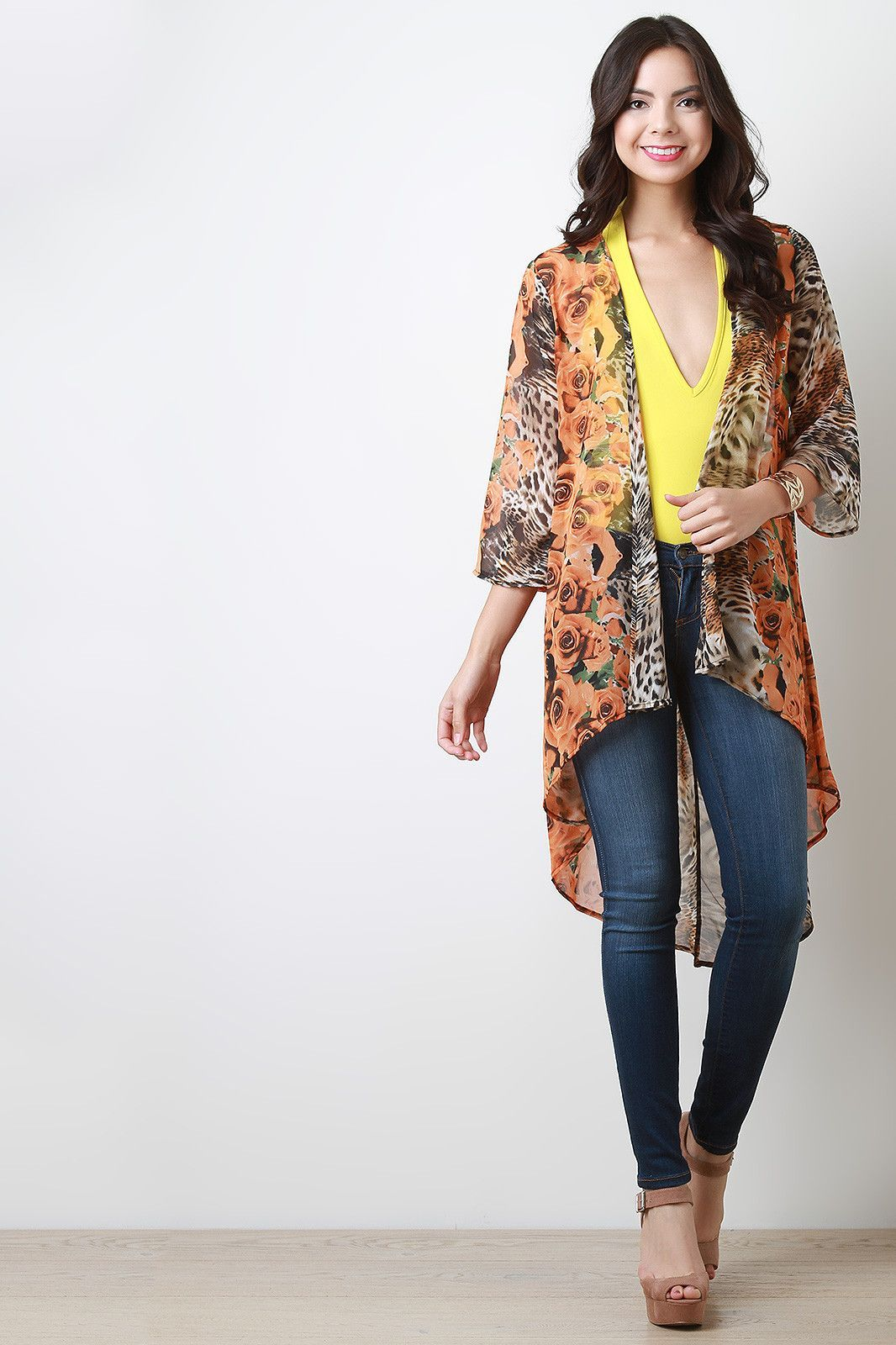 Rosette And Leopard Chiffon Open Front Cardigan Rosette And ...