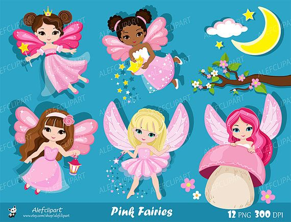 Pink Fairy Clipart Cute Fairies In Fairyland Commercial Use Clip Art Clipart Fofo Ilustracoes