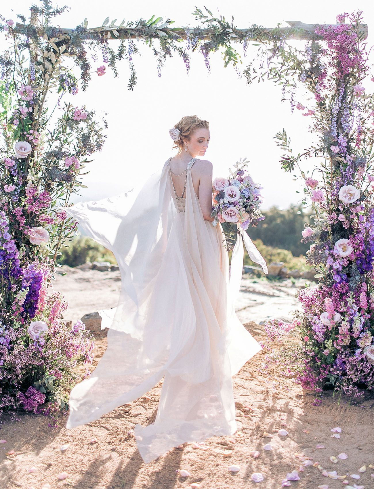 Cape wedding dress our floral design from our inspirational art