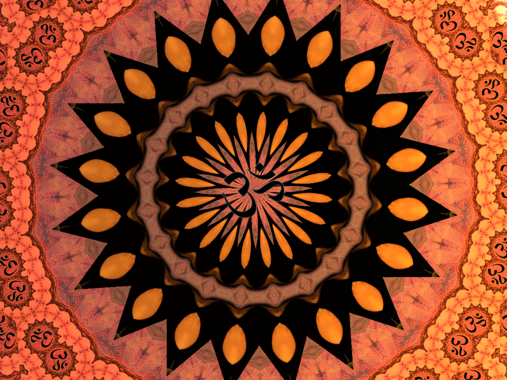 OM Symbol Red and Orange Chakra Background by BrittBrattStudios