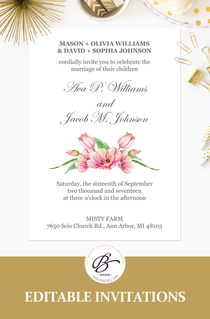Pink Floral Wedding Invitation Template Printable Wedding Etsy Wedding Invitation Templates Printable Wedding Invitations Floral Wedding Invitations