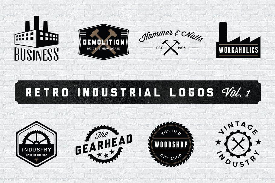 Retro Industrial Logos Volume 1 Logos Industrial Retro Templates Industry Logo Vintage Logo Design Retro Logo Design