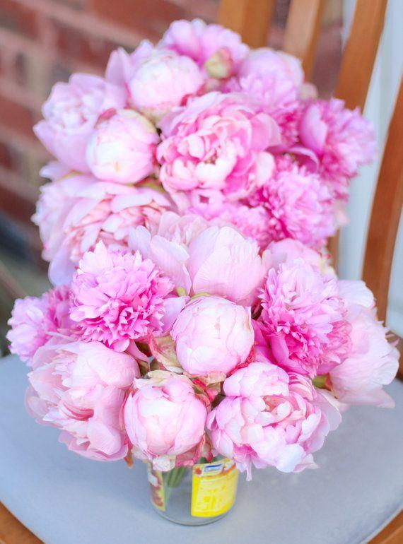Silk peonies arrangement pink flowers bouquet wedding gift