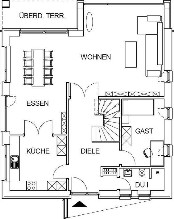 das erdgeschoss dieser stadtvilla als variante hausbau hamburg bau planung pinterest. Black Bedroom Furniture Sets. Home Design Ideas