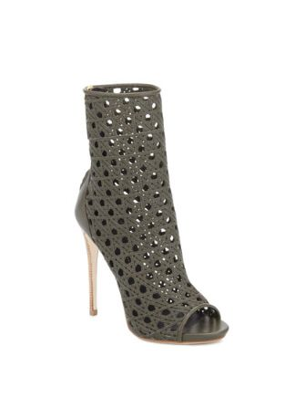 GIUSEPPE ZANOTTI Open-Toe Woven Leather Ankle Boot