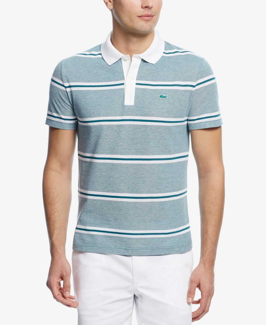 3d8318353da Lacoste Men s Pique Stripe Polo