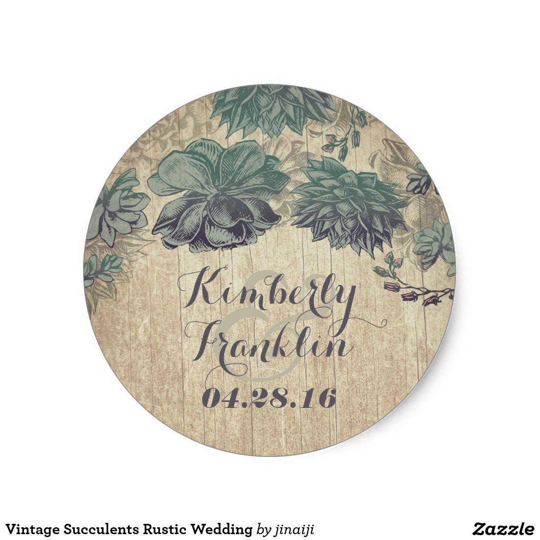 Vintage Succulents Rustic Wedding Classic Round Sticker | Round ...