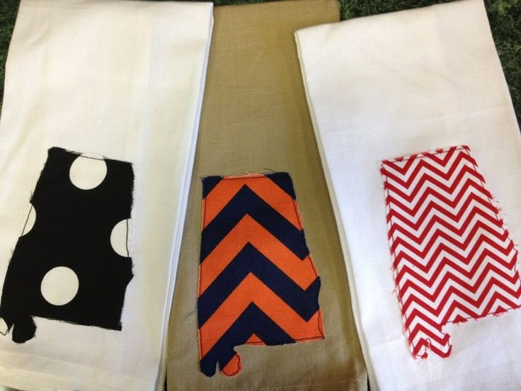 alabama state towel | Alabama state raggy applique kitchen towels | Cute crafts to try