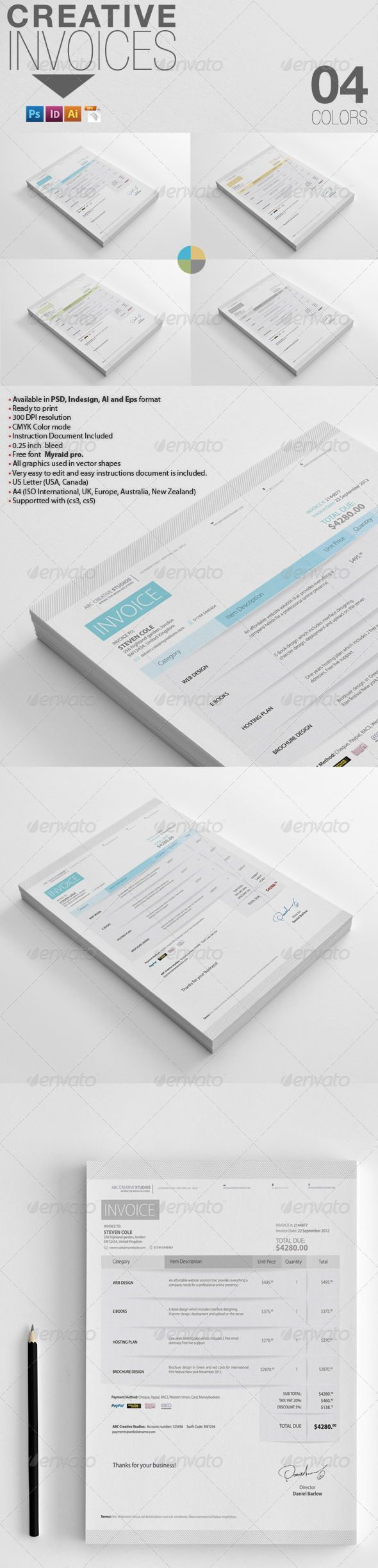 Creative Invoices  Creative Template And Fonts