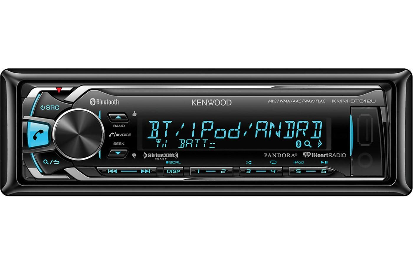 Kenwood Kmm Bt312u Digital Media Receiver Does Not Play Cds At Crutchfield Bluetooth Car Stereo Kenwood Car Stereo