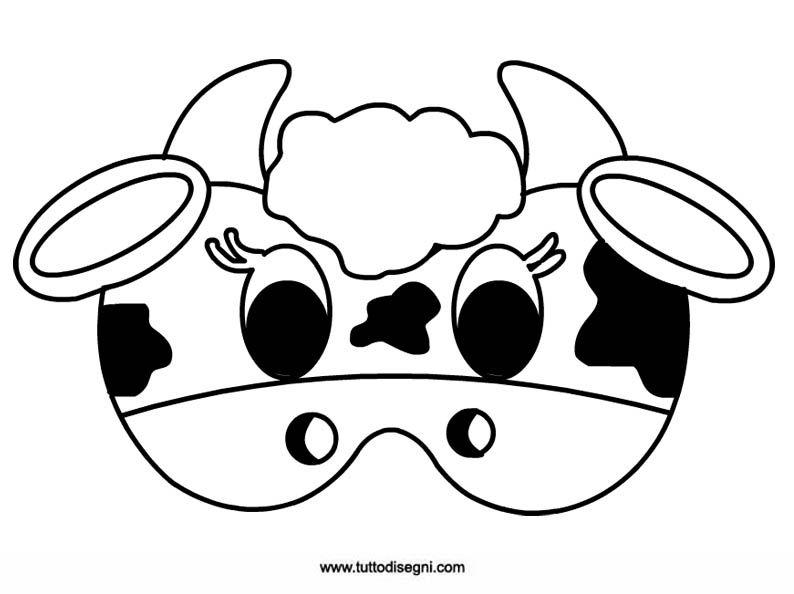 Mucca maschera di carnevale da colorare teatro for Maschere da colorare animali
