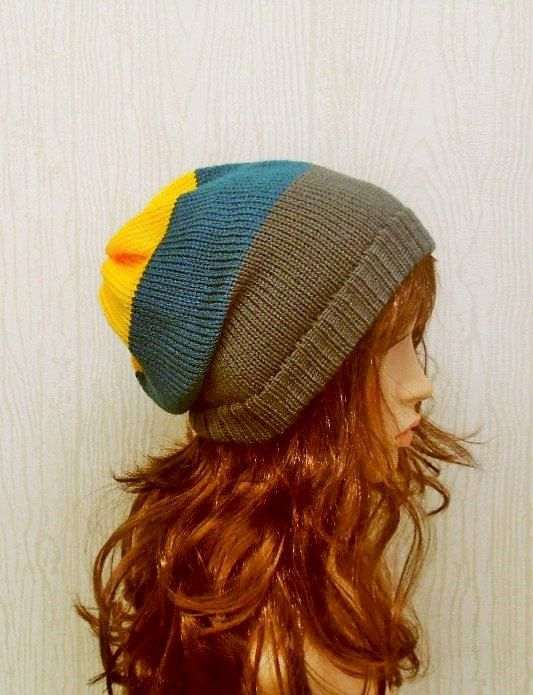 knitted slouch hat knit womens hat striped by kristineshopforyou