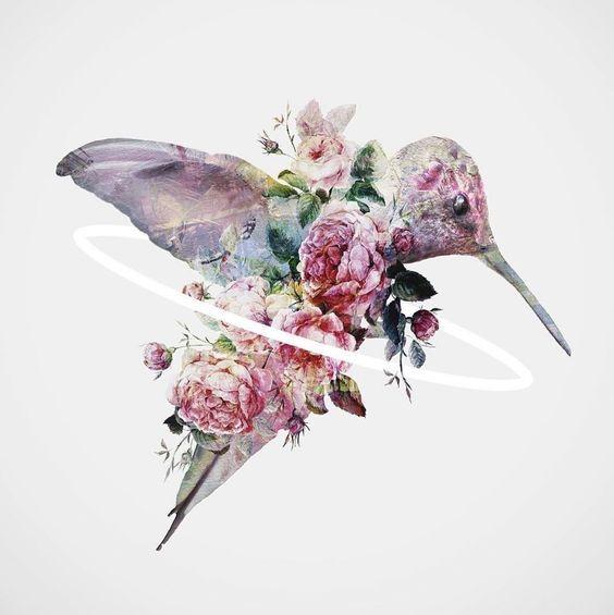 Vintage Flowered Hummingbird In Pinl Colors Tattoo Design
