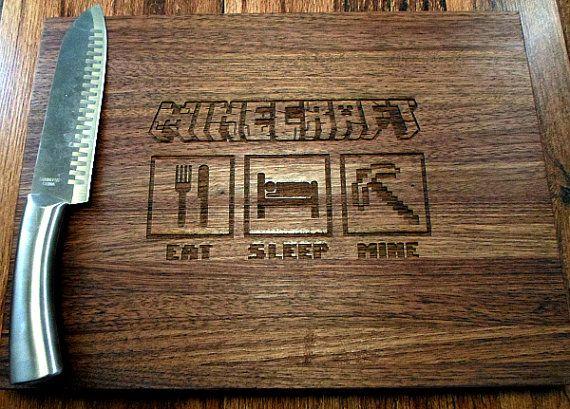 Gamer Man Cave Gifts : Minecraft eat sleep mine kitchen cutting board butcher block gamer