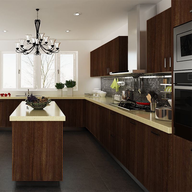 Modular Kenya Project Simple L Shaped Small Kitchen: Kitchen Cabinets, PVC, Dark Brown, OP14-PVC04