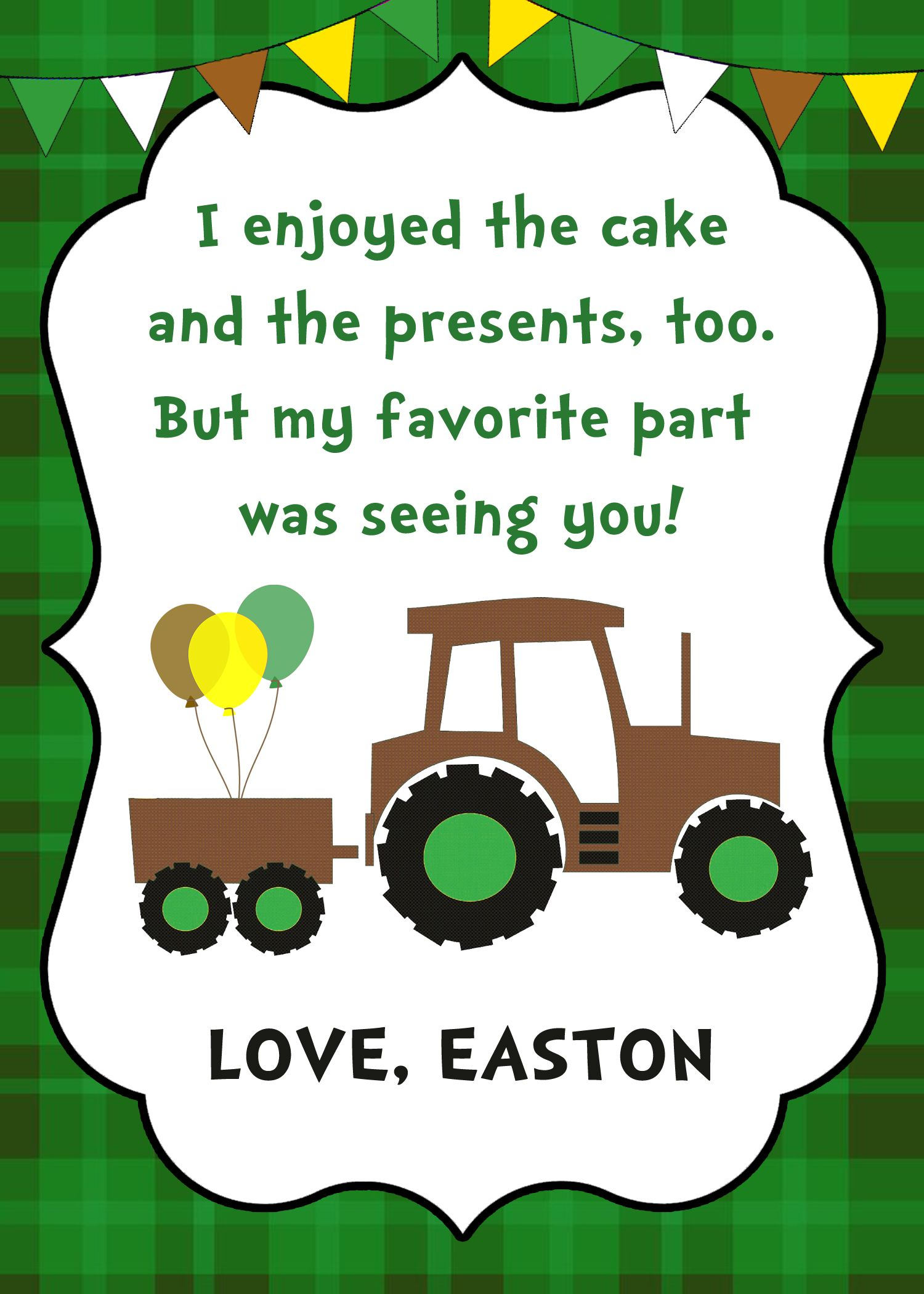 Tractor Birthday Thank you Card, Tractor Birthday Party, Farm ...