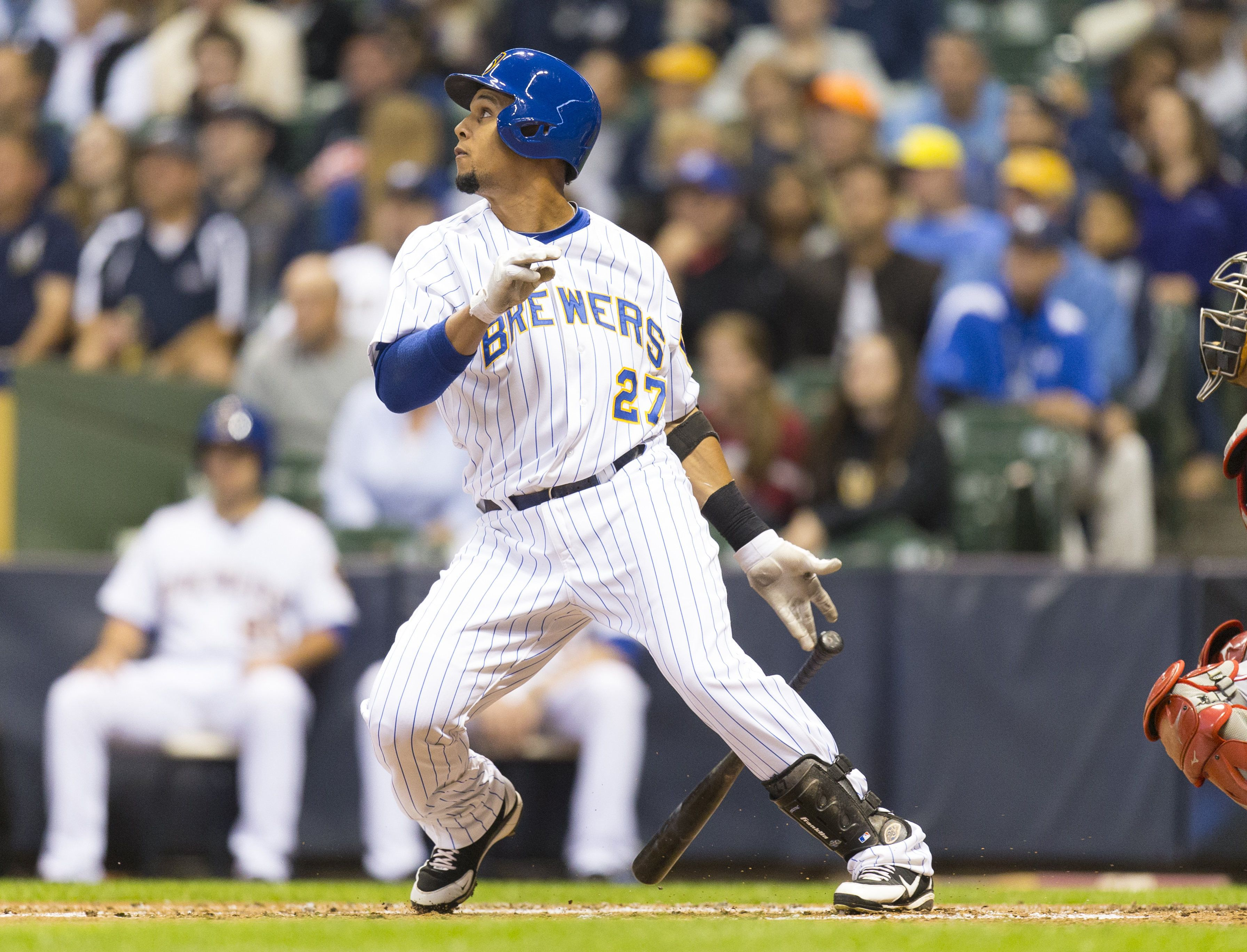 Crowdcam Hot Shot Milwaukee Brewers Center Fielder Carlos Gomez Hits An Rbi Single During The First Inning Against T Cincinnati Reds Milwaukee Brewers Brewers