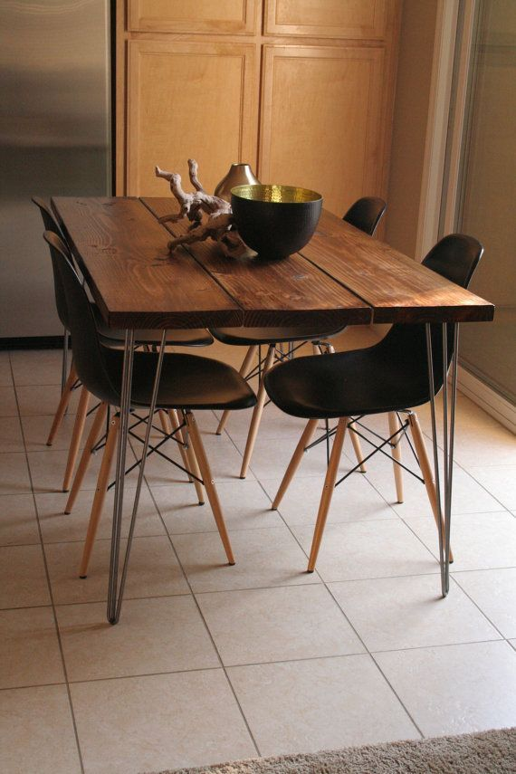 Organic Modern Rustic Dining Table with Hairpin legs on Etsy